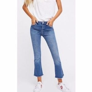 Free People Cropped Flare Raw Hem Jeans 25
